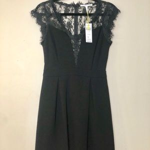 BVBGeneration Pleated Lace Contrast Dress